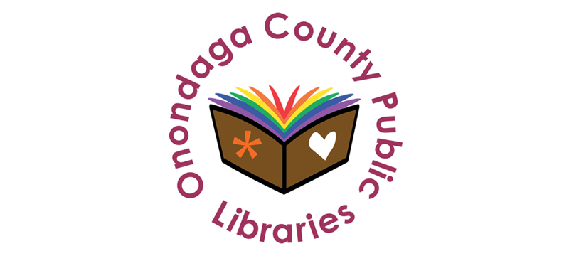 OCPL pride logo - a book displays the rainbow colors as pages in the book