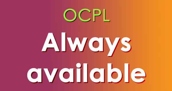 The words OCPL Always Available in white coloring on a maroon and orange background.