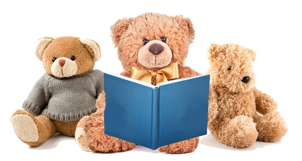 One stuffed animal bear reads a story to two smaller bears.