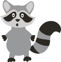 A racoon in shades of gray and black stands with a shocked look on its face