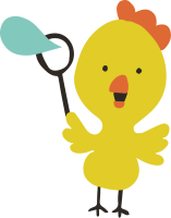 A yellow chick with an orange beak blows a blue bubble
