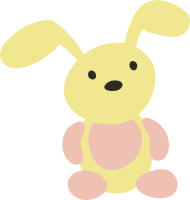 a yellow and pink bunny is in a seated position