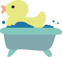 A yellow duck sits in a blue bathtub with bubbles