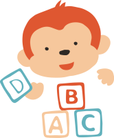 An orange and peach colored monkey plays with toy letter blocks A, B, C and D. Graphic provided by Early Childhood Alliance
